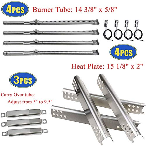 Grill Replacement Parts for Charbroil Advantage Series 4 Burner 463344015, 463343015, 463433016 Gas Grills, Stainless Pipe Burner, Heat Plate Tent Shield, Adjustable Carryover Tube, Grill Igniters Burners Grill