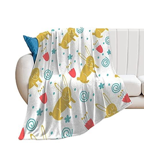 Manta de forro polar Unise x para decoración de habitación de cama de 60 x 80 pulgadas, conejito – manta suave cálida y acogedora, manta de microfibra de felpa para cuna cochecito de bebé