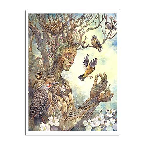 WSNDGWS Arte de la Pintura de Pared Arte Abstracto Árbol Ilustración de pájaro Decoración del hogar Pintura al óleo Moderna Sin Marco A4 40x60cm