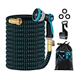 150FT Expandable Garden Hose with Triple Latex Core, 3/4 Solid Metal Fittings, Extra Strength Fabric - Magic Water Hose with 10 Function Nozzle(Black & Blue, 150FT)