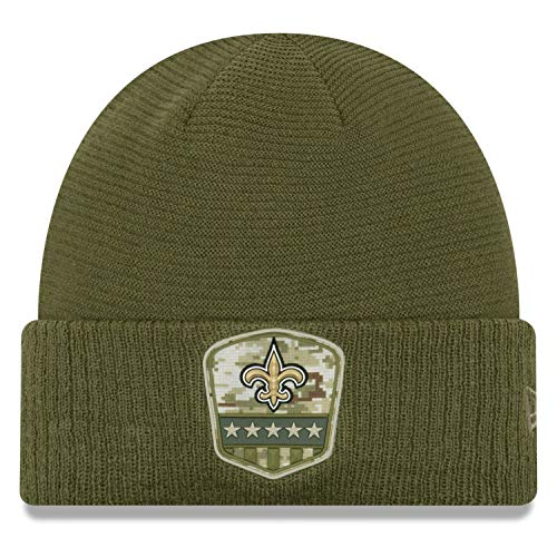 New Era Orleans Saints Beanie On Field 2019 Salute To Service Knit Olive - One-Size