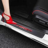 XITER For Dodge Charger Carbon Fiber Leather Car Door Sill Scuff Plate Guard Sills Door Entry Guard Protector Trim Autoparts Accessories 4PCS-RED