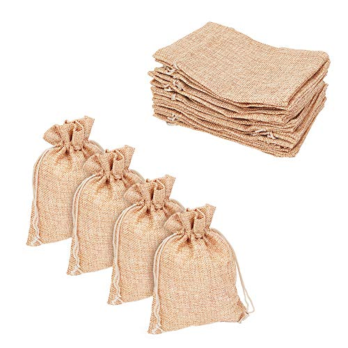"""Pandahall 100pcs Burlap Packing Pouches Drawstring Bags 5x7"""" Gift Bag Jute Packing Storage Linen Jewelry Pouches Sacks for Wedding Party Shower Birthday Christmas Jewelry DIY Craft, Peru"""