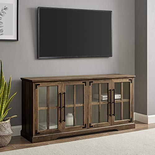 """Walker Edison Farmhouse Barn Glass Wood Universal Stand for TV's up to 64"""" Flat Screen Living Room Storage Cabinet Doors and Shelves Entertainment Center, 58 Inch, Rustic Oak"""