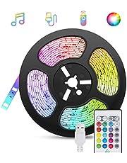 Tiras-LED-USB Música 5M, TASMOR Luces LED RGB 5050 16 Colores, Strip Led 5v con Control Remoto, Iluminación Decorativa Autoadhesiva para TV Monitor Coche Pasillo Bar Fiestas y Habitación