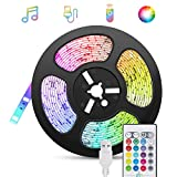 Tiras-LED-USB Música 5M, TASMOR Luces LED RGB 5050 16 Colores, Strip Led 5v con Control Remoto, Iluminación Decorativa Autoadhesiva para...