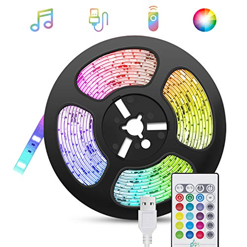 Tiras-LED-USB Música 5M, TASMOR Luces LED RGB 5050 16 Colores, Strip Led 5v con Control Remoto, Iluminación Decorativa...