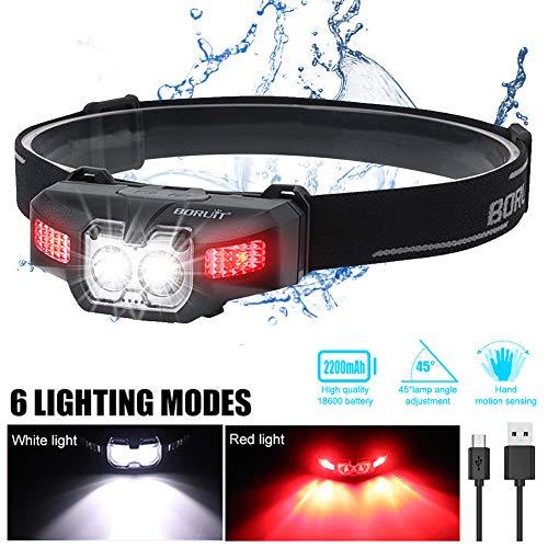 LED Stirnlampe Kopflampe USB Wiederaufladbare Mini Stirnlampe Wasserdicht Verstellbar Kopfleuchte mit Rotlicht und Intelligenter Geste Sensor, fürs Laufen,Joggen, Angeln, Campen, für Kinder und mehr