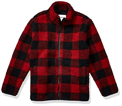 Amazon Essentials Toddler Boys Polar Fleece Lined Sherpa Full-Zip Jackets, Exploded Red Buffalo Check, 3T