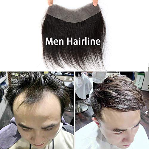 BTWTRY Men's Hairline Toupee 1.5x6 inch V-Shape Brazilian Virgin Human Hair for Men Toupee Soft Thin Skin Mens Hairpieces Hair Natural Hairline Replacement System (Natural Color)