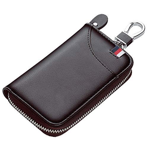 SAWDEGAN キーケース メンズ カードキーケース レザー スマートキーケース 車キーケース 6連 1つ外側ポケット カード入れ カラビナ付き ic カード入り 免許証 小銭 札入れ付き 大容量 (1)