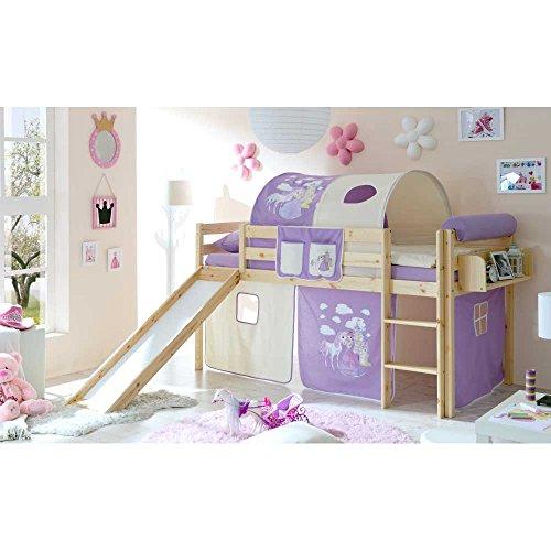 Pharao24 Kinderhochbett mit Rutsche Prinzessin Hängeregal Ja