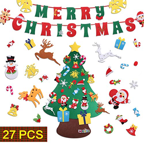 JOKBEN DIY Felt Christmas Tree Set, with Merry Christmas Felt Banner Wall Hanging Christmas Decorations with 27pcs Detachable Ornaments Xmas Gifts for Child