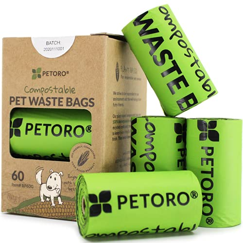 PETORO Biodegradable Dog Poop Bags Compostable Dog Waste Bags, 100% Plastic Free, Unscented,...