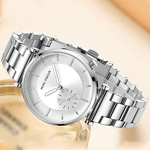 KLFJFD Elegante Temperamento Rhinestone Señoras 30 M Reloj Impermeable Chica Moda Deportes Banda De Acero Inoxidable Reloj Estudiante Casual Simple Reloj De Cuarzo Regalo De Cumpleaños