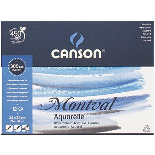 Canson Montval - Papel para acuarela (24x32 cm, 12 unidades)
