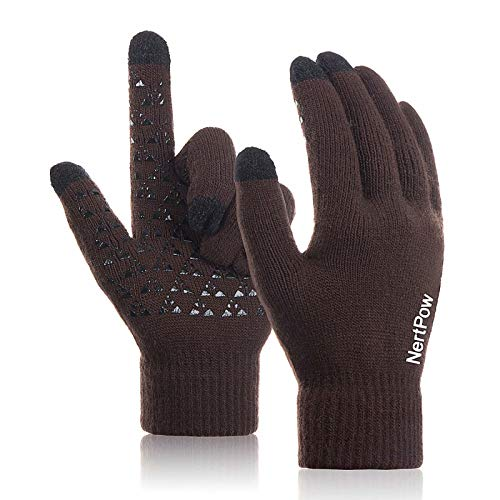 Winter Gloves for Men and Women, Warm Knit Touch Screen Texting Anti-Slip Thermal Gloves with Wool Lining (Coffee-L)