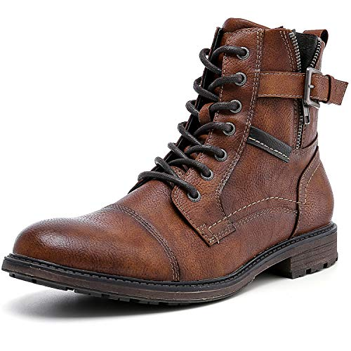 AMAPO Men's Oxfords Boots,Mens Boots Casual Mid-Top Motorcycle,Men Boots Mens Dress Boots,Ankle Boots For Men,Street Men Boots Lace-Up and Zipper(A20707-BRN-42)