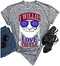 Women I Willie Love The USA & Have A Willie Nice Day Short Sleeve T-Shirts Tops (Gray, Medium)