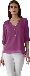 5259e2d140fef OMZIN Damen Chiffon Bluse V-Ausschnitt Henley Shirt Casual Langarm  Oberteile XS-XXXL