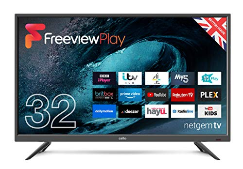 "Cello 32"" HD Ready LED TV Made In The UK with Alexa & powered by Netgem Made in the UK, BBC iPlayer,Britbox"