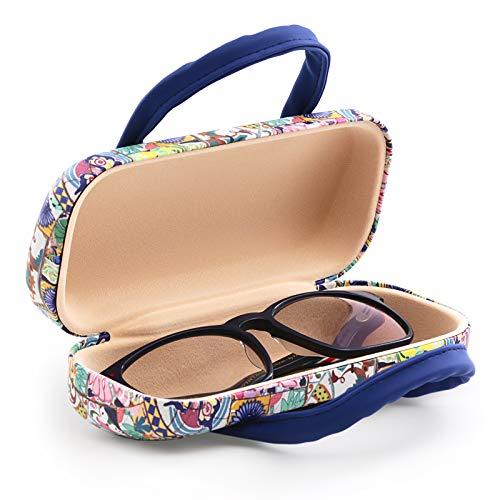 Starres Etui für Brillen mit flexiblem Verschlusssystem und flexiblen Griffen. Innenfutter in Samt-Optik (Mosaike)