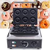 Professional Electric Donut Waffle Maker Machine,110V 1550W Six-Grid Stainless Steel Doughnut Maker with Non-stick Baking Plate, Double-Sided Heating, 122-482℉ Temperature Adjusting+ 0-5 Min Timer for Household and Commercial Use Both