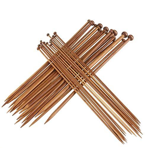 ZKSM Agujas tejer 36 piezas bambú punto único 18