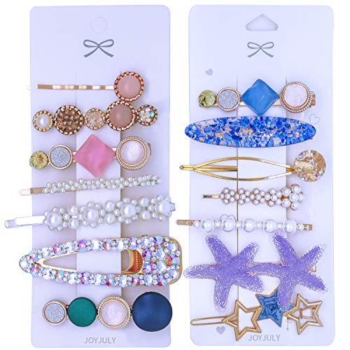 JOYJULY 14 PCS Pearls and Acrylic Resin Hair Clips Handmade Glitter Crystal Hair Barrettes Hollow Geometric Bobby Pins Hairpins Korean Fashion Hair Styling Accessories Set for Women Girls