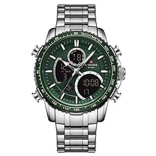 xiaoxioaguo Reloj de hombre de lujo marca grande esfera deportiva reloj cronógrafo de cuarzo fecha reloj de hombre plateado verde