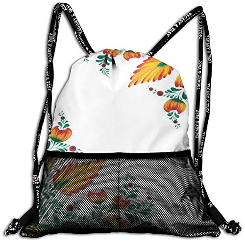 AZXGGV Drawstring Backpack Rucksack Shoulder Bags Gym Bag Sport Bag,Motivational Quote with Ornate Japanese Watercolor Flower Motif
