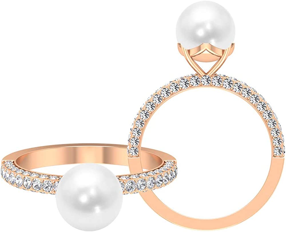 4 CT Solitaire Fresh Water Pearl Ring, 3/4 CT D-VSSI Moissanite Ring, Gold Engagement Ring (8 MM Round Shaped Fresh Water Pearl), 14K Gold