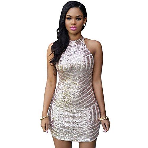 RedLife Women's Sexy Sparkling Sequin Sleeveless Bodycon Stretchy Mini Party Dress