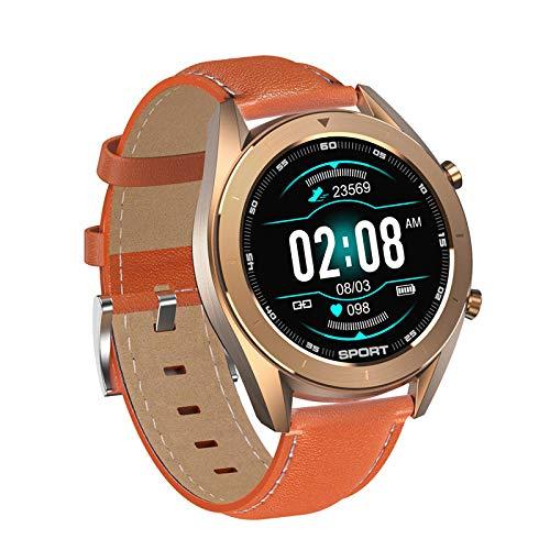 KYLN Smartwatch Business Männer Sportuhr IP68 wasserdichte Herzfrequenz Schlafüberwachung Fitness Tracker-Kumquat_Leder