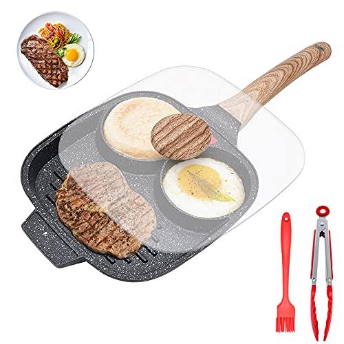 Spiegeleipfanne, Pancake Pfanne mit Deckel 3 Loch Aluminium Eierpfanne Omelettpfanne mit Antihaftbeschichtung Für Frühstück, Spiegelei, Pfannkuchen, Steaks, Für Induktionsherd & Gasherd