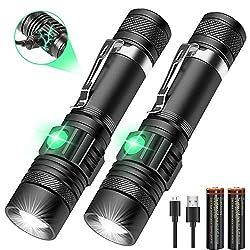 AOMEES USB wiederaufladbare Taschenlampe (einschließlich 18650 Batterie) Taschenlampe, superhelle Taschenlampe 4 Modi Hoch/Niedrig/Blitz/SOS für Innen Außen