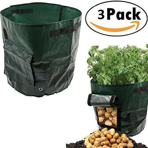 7 Gallon Garden Potato Grow Bag Vegetables Planter Bags with Handles and Access Flap for Potato, Carrot & Onion, 3...