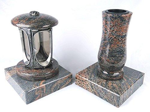designgrab Alu Grablampe aus Aluminium in Antikoptik und Grabvase Taille-medium und 2 Stück Sockel eckig in Granit Gneis Halmstad/Barap/Hollandia
