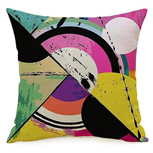 N\A Decorative Linen Square Throw Pillow Cover Case Modern Abstract Mixed Circle Retrovintage Triangle Style Frame Paint Design Blue Pattern Orchid Pillowcase Cushion Sham for Couch