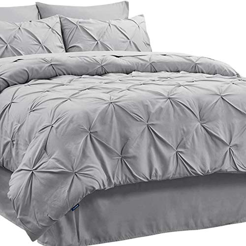 Bedsure Comforter for Queen Bed Queen Comforter Set Bed in A Bag Grey 8 Pieces - 1 Queen Comforter (88x88 Inches), 2 Pillow Shams, 1 Flat Sheet, 1 Fitted Sheet, 1 Bed Skirt, 2 Pillowcases