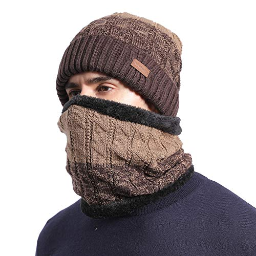 NovForth Cold Weather Mens Beanie Hats Neck Warmer Set, Warm Hat Fleece Skull Caps Neck Scarf,Brown Fleece Lined Winter Hat And Scarf