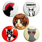Cat Anarchy Buttons Pins for Backpacks or Jackets Lapel Pins Badges Sarcastic Punk Rock Edgy 5 Pack Gift Set 1 Inch P38-1