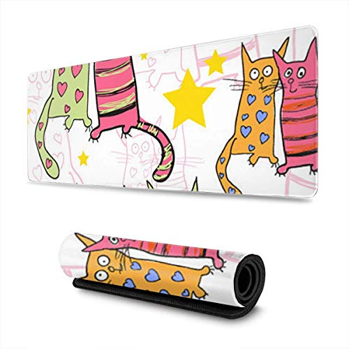 N\A Gaming Moursepad Cartoon Lover Cats Mouse Tappetino per Mouse per Computer PC e Mac