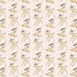Fat Quarter Disney Bambi Toss On Baby Pink 100% Baumwolle