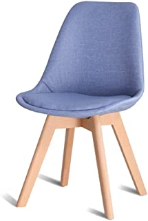 HLLZRY Cocina sillas de Comedor, fácilmente Ensamble Modern Piernas Amortiguador de la Tela Silla del Asiento de Madera, sillas sin Brazos para Cocina, Comedor, Restaurante,Azul