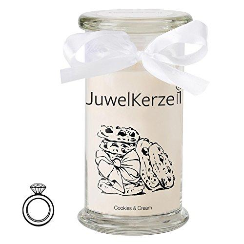 JuwelKerze Cookies & Cream - Kerze im Glas mit Schmuck - Große beige Duftkerze mit Überraschung als Geschenk für Sie (Silber Ring, Brenndauer: 90-120 Stunden)(M)