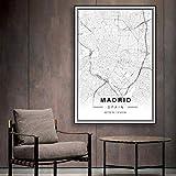 HUANGXLL Sure Life Schwarz-Weiß-Stadtplan von Madrid