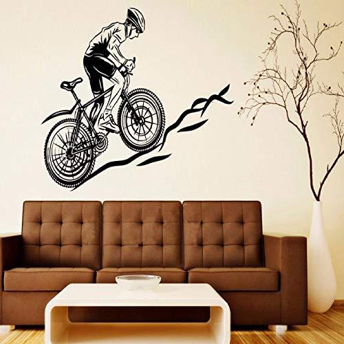 YuanMinglu Cool Sports Bike Mountain Bike Tatuajes de Pared Vinilo Adhesivo decoración del hogar Sala de Estar Dormitorio Arte móvil Mural Negro 57x42 cm