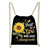 WELLFLYHOM Drawstring Backpack Sunflowers Lightweight Tote Gym Bag for Women Girls Custom Heavy Duty Cinch Sack Thick Straps Youth String Bag Party Favor Workout Sport School Laundry Daypack Gymsack