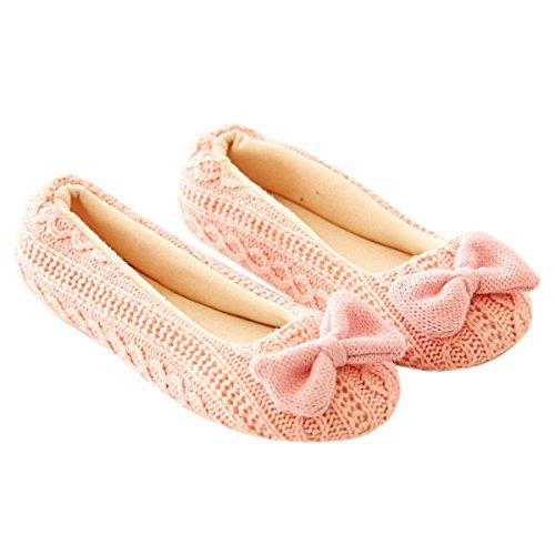 TININNA Zapatillas Mujer Inicio Zapatillas Bowknot Hembra Cachemira Caliente de Las Mujeres Embarazadas Zapatos diseño Antideslizante de la Yoga Rosa